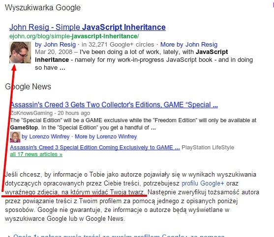 Do wyświetlania informacji o autorze konieczny jest profil Google Plus i wyraźne zdjęcie