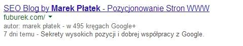 Informacje o autorze bez zdjęcia w wynikach Google
