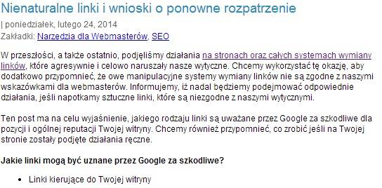 Nienaturalne linki i wnioski o ponowne rozpatrzenie   Blog Google Polska