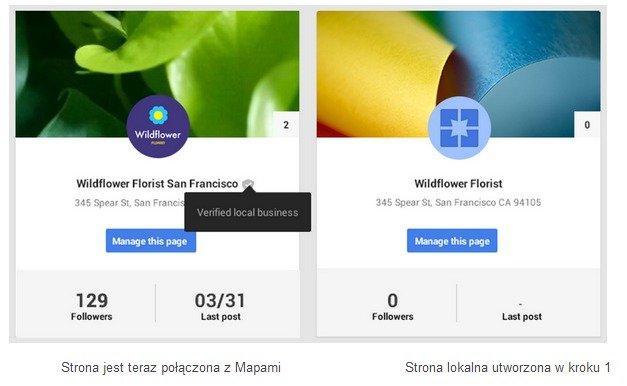 Po scalenie Miejsc ze stroną Google Plus