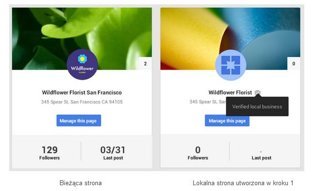 Przed scaleniem Miejsc dla Firm ze stroną Google Plus