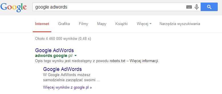 disallow w robots.txt na przykładzie adwords.google.pl