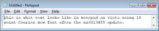 Czcionka po instalacji kb3013455
