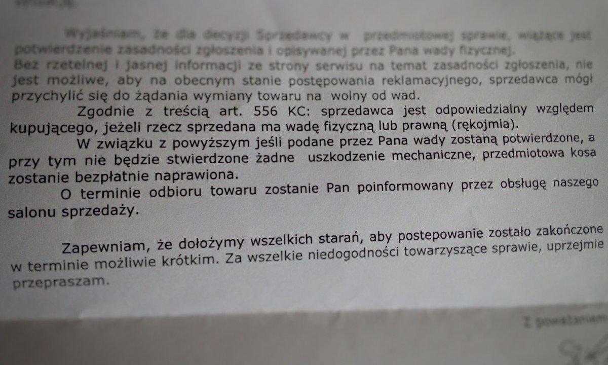 Jedyna odpowiedź na reklamację Electro.pl