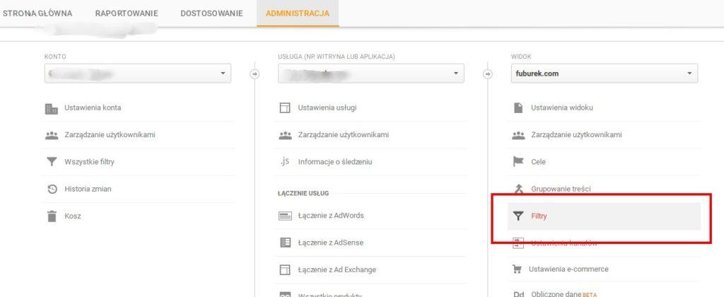 Google Analytics Konfiguracja Filtrów