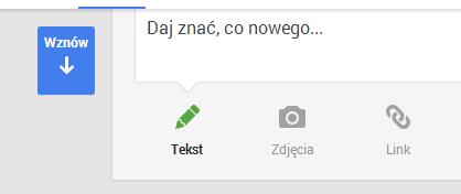 Funkcja Wznów na Google+