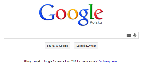 Reklama Google Science Fair 2013 na stronie głównej Google